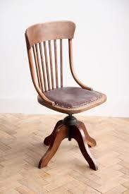 Vintage Antique Edwardian Oak Office Swivel Chair