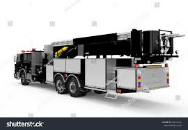 Black Firetruck Perspective Back View Isolated Stock Illustration ...