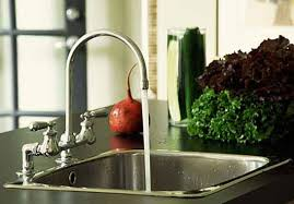 kitchen sink with running water faucet with running water