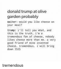 Donald Trump at Olive Garden Probably Waiter Would You Like Cheese
