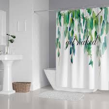 sie nackt dusche vorhang badezimmer dekor blätter drucken