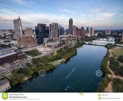100 Austin City View Skyline Near First Street Bridge Colorado River Stock