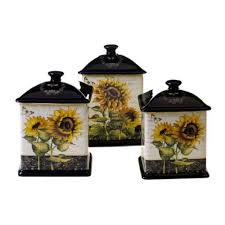 French Sunflowers 3 Piece Kitchen Canister Set By Certified International Price 7499 Sunflower Decor