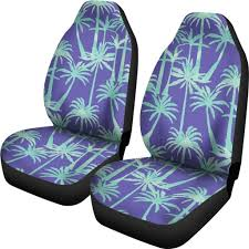 Teal Palm Tree Pattern Print Universal Fit Car Seat Covers