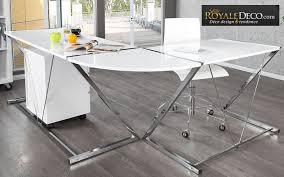 bureau en verre blanc bureau angle design