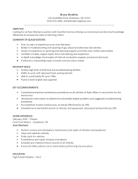 Automotive Resume Objective Examples Fast Lunchrock Co