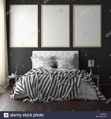 drei vertikale titelbild mockups über dem bett auf schwarze