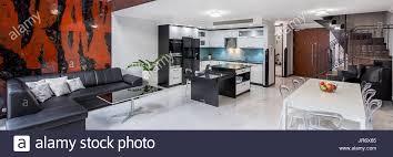 stilvolle wohnzimmer mit entworfene stühle ledersofa und