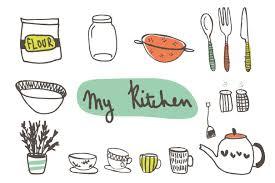 Vintage Cooking Clip Art Hand Drawn Kitchen Clipart Kid