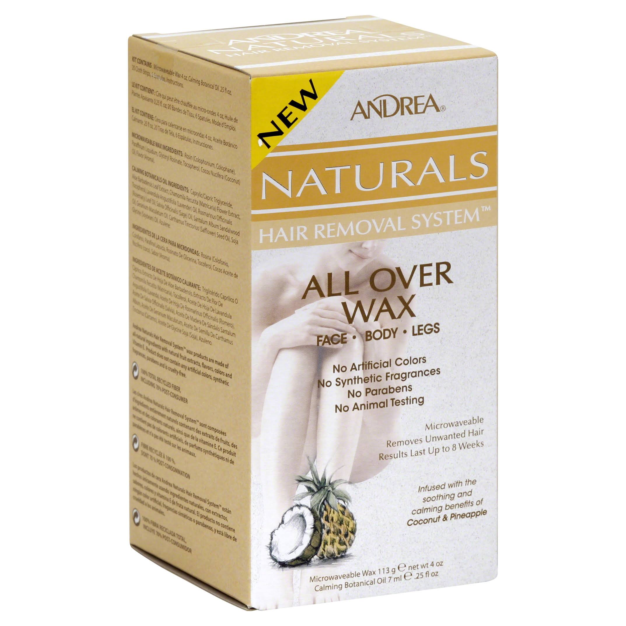 Andrea Naturals All Over Wax Hair Removal System - Coconut Pineapple