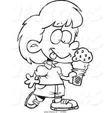 Vector Of A Cartoon Girl With Ice Cream