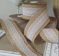 5M Natural Jute Burlap Hessian Ribbon With Lace