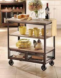 Rustic 3 Shelf Rolling Kitchen Cart