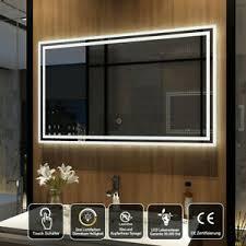 details zu led badspiegel 100x60 cm dimmbar helligkeit touch wandspiegel mit beleuchtung