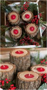 Rustic Wood Candle Holders Christmas Decoration Ideas