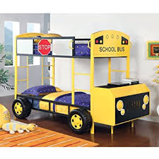 Amazon School Bus Twin over Twin Bunk Bed Front Hood Table