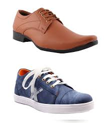 alestino leather look men u0027s blue casuals and brown formal shoes