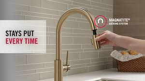 Delta Trinsic Kitchen Faucet Champagne Bronze by Delta Trinsic Single Handle Pull Down Sprayer Kitchen Faucet With
