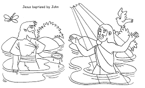 Jesus Baptized By John Coloring Page