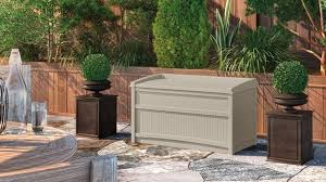 Suncast Patio Storage Box by Resin Patio Storage Boxes Quality Plastic Sheds