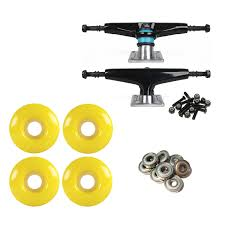 100 Skateboard Truck Sizes S BlackSilver 51mm Yellow Abec 9 Bearings Combo