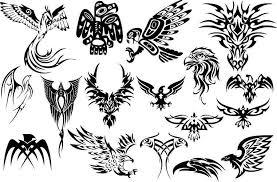 Black Tribal Birds Tattoo Designs Set
