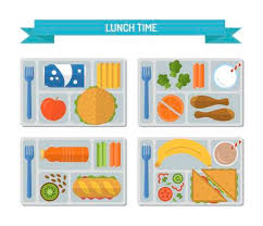 Set Lunches On A Tray Healthy Food Business Or School Lunch Flat Style Vector Illustration