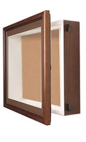 SwingFrame Designer Wood Shadow Box Display Case With Cork Board 4 Deep