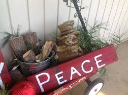 Christmas Yard Decorations Red Wagon Decorated For