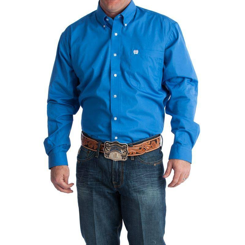 Cinch Western Shirt Mens Long Sleeve Solid Button Blue MTW103799X