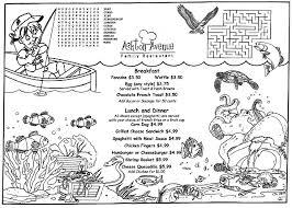 Fishn Front Kids Coloring Placemat Menus For Restaurants Ocean Fish