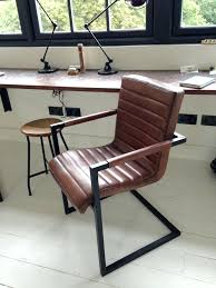 Desk Chair Wood Leather Leather fice Chair Industrial Metal Legs