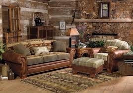 Log Cabin Home Decorating With Sofa Chair