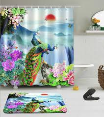 gardinen vorhänge floral duschvorhang wasserdichter