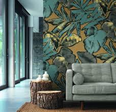 wandbild wohnzimmer natur blatt blau beige motiv exotisch