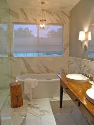 Side Table Completes The Tranquil Spa Like Look In Bathroom Design