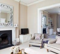 Traditional Tv Room Ideas Living Victorian With Silver Gilt Mirror Wicker Basket Marbled Fireplace Mantel