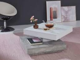 details zu couchtisch wohnzimmer tisch drehbar quadratisch weiß grau beton design 70x70 cm