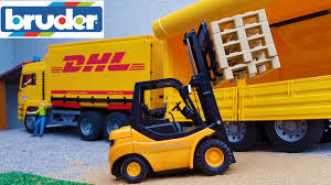 BRUDER Toys DHL Truck And Forklift Work - YouTube
