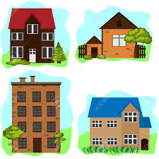 100 Four Houses Set Royalty Free Cliparts Vectors And Stock
