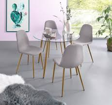 my home essgruppe miller set 5 tlg glastisch mit 4 stühlen webstoff kaufen otto