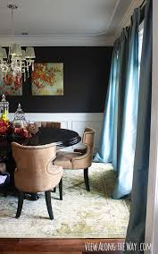 Dining Room With Dark Walls Crown Molding And Chair Rail At Viewalongtheway