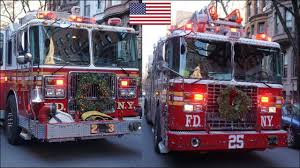 100 New Fire Trucks FDNY Fire Trucks Responding With Air Horn Siren Lights