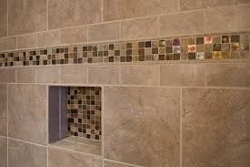 master bathroom shower closeup on accent tile traditional