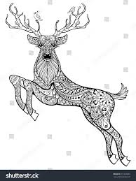 Hand Drawn Christmas Magic Horned Deer With Birds For Adult Anti Stress Coloring Page