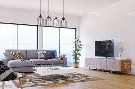 modernes helles und luftiges skandinavisches design wohnzimmer stockfoto und mehr bilder architektur