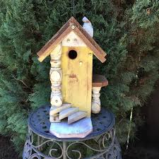 Yellow Rustic Birdhouse Decorative Functional Unique Bird House Garden Art Handmade Birdhouses For Gardening Birds Item 450358918