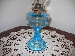 antique vintage kerosene light blue translusent colored glass oil