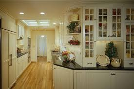 Kitchen Off White Country Style Galley With Yellowish Hardwood Floor Impressive Design