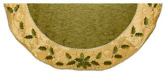 54 Green And Gold Holly Leaves Embroidered Treeskirt